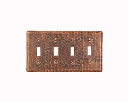 Premier Copper Products ST4 Copper Switch Plate Quadruple Toggle Switch Cover, Oil Rubbed Bronze