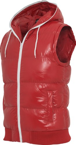 Urban Classics Hommes Hooded Bubble Vest TB332, color:red/white;taille:XL