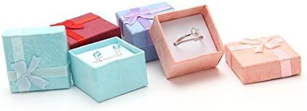 Violet Skyeye Lot de 5/bo/îtes cadeau carr/é Bague Boucles doreilles bijoux Cadeau de stockage Bowknot Coque 4*4/cm 4*4*2.5 cm Red