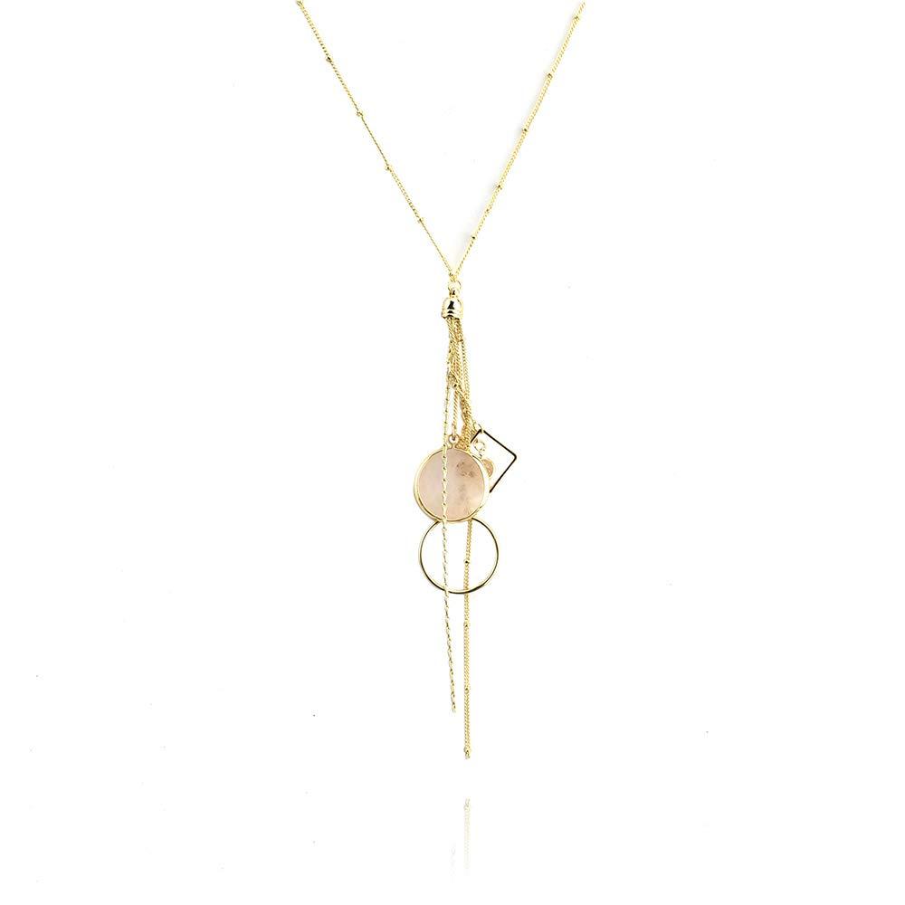 27-Inch Homeford Geode Geometric Tassle Pendant Necklace