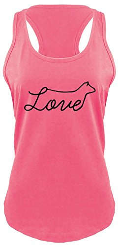 Comical Shirt Ladies Racerback Tank Love Cow Hot Pink M