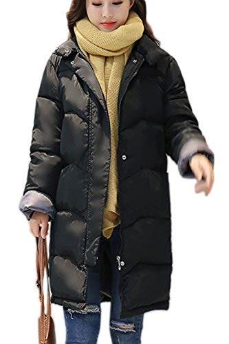 Parka Hiver Femme lgant Unicolore Veste A Capuche Fille Automne Doublure Fourrure Synthtique Hiver Jacket Manches Longues avec Ceinture Fermeture clair Manteau Outerwear Noir