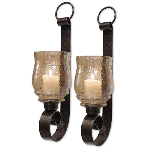 Candle Tall Sconce Lighting - Uttermost Joselyn Small Wall Sconces 6 x 6 x 18 (Set of 2), Bronze