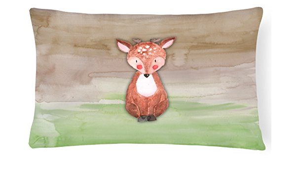 Amazon Com Caroline S Treasures Bb7442pw1216 Baby Deer Watercolor Canvas Fabric Decorative Pillow 12h X16w Multicolor Garden Outdoor
