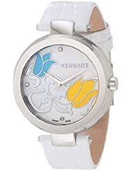 Versace Womens I9Q99SD1TU S001 Mystique Stainless Steel White Leather Enamel Dial Watch