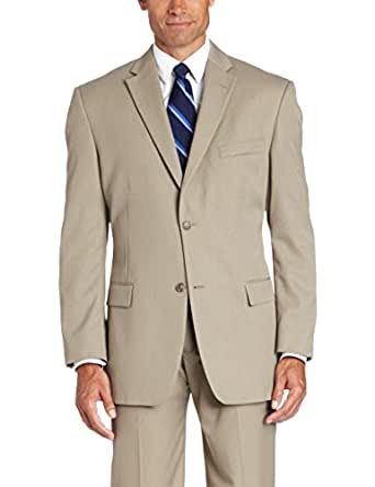Haggar Men's Herringbone Stripe 2-button Center Vent Suit Separate Jacket, Khaki, 38 S