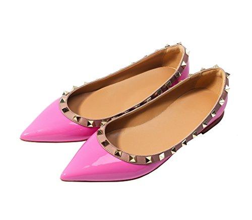 Katypeny Vrouwen Klinknagel Stud Slip Op Puntige Loafers Flats Pumps Schoenen 13 # Licht-paars Patent Pu Leer