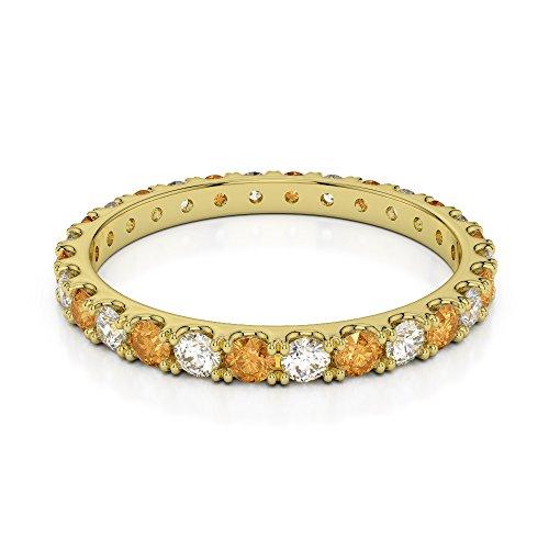Or jaune 18carats 0,34CT G-H/VS sertie de diamants ronds Cut Citrine et éternité Bague Agdr-1120