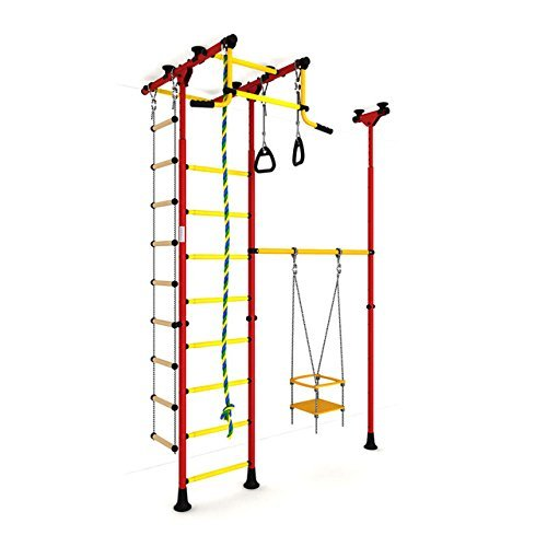 Indoor Kids Playground Play Set / Red Training Gym Sport with Accessories Equipment: Swing, Climber, Rope ladder, Rope and Gymnastic Rings / Suit for Apartment, School and Playroom / Carousel R33