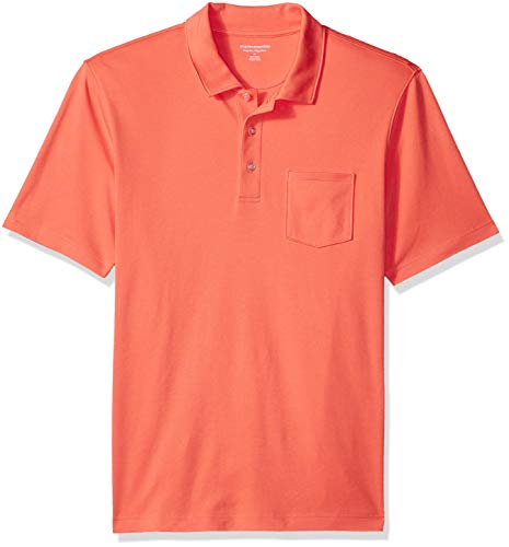 Amazon Essentials Men's Regular-Fit Pocket Jersey Polo, Coral, XX-Large
