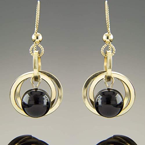 Yellow Earrings Gemstone (Dainty 14K Yellow Gold Fill Black Onyx Gemstone Open Circle Dangle Earrings)