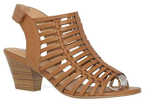 (MVE Shoes Women's Open Toe Buckle Straps Block Heel - Low Stacked Wood Heeled Sandals - Vegan Leather Sandals-Open Toe Back Zipper Chunky Heel Pumps, tan pu Size 7.5)