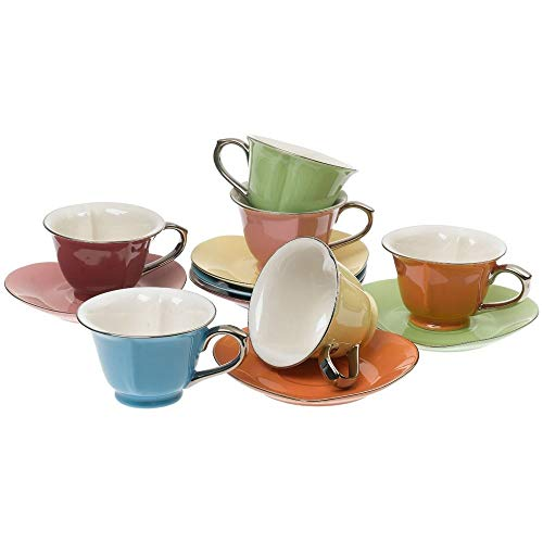 Classic Coffee & Tea Inside Out Heart Cups & Saucers, Set of 6, Assorted/Platinum, 6.5 Oz.