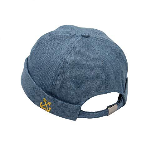 Cuffed Watch Cap - Easy Solid Retro Denim Watch Cap Sailor Beanie Leon Cuffed Hat Brimless Docker Skullcap