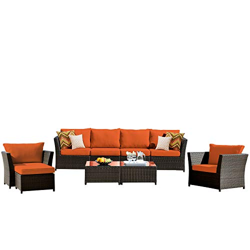 ovios Patio Furniture Set, Backyard Sofa Outdoor Furniture 9 Pcs Sets,PE Rattan Wicker sectional with 2 Pillows and 2 Piece Patio Furniture Cover, No Assembly Required,Brown (9 Piece, Orange red) (Sectional Pc 2)