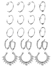 LOYALLOOK Fake Nose Ring Septum Rings Stainless Steel Non-Pierced Clip On Rings for Women Girls Faux Body Piercing Jewelry 18Pcs