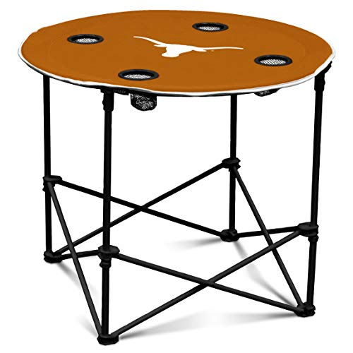 - Texas Longhorns Collapsible Round Table with 4 Cup Holders and Carry Bag