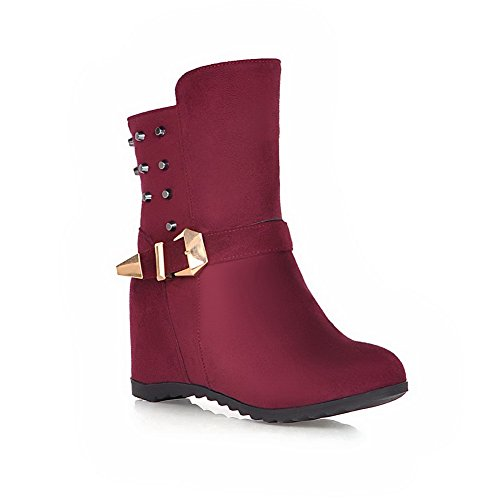 WeenFashion Women's Frosted Zipper Round Closed Toe Kitten Heels Low Top Boots, Claret, - Outlet Las Vegas In Malls