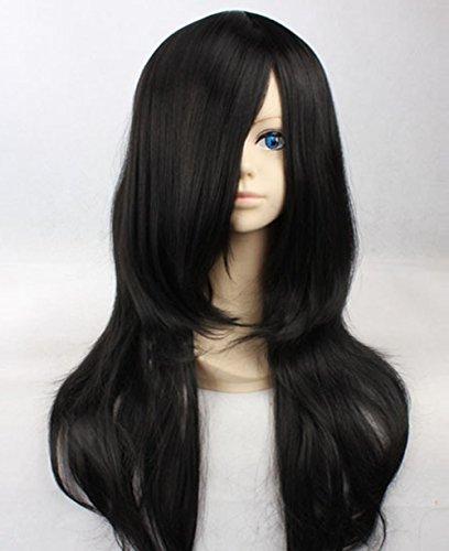 Aoi Kunieda Cosplay Costume (Cosplay Long Black Curly Wig Aoi Kunieda Wig Hyuuga Neji NARUTO Wigs)