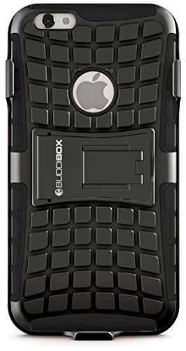 iPhone 6s Case, BUDDIBOX [Wave Belt Series] Slim Belt Clip Holster Rugged Durable Protective Case with Kickstand for Apple iPhone 6 and 6s, (Black)