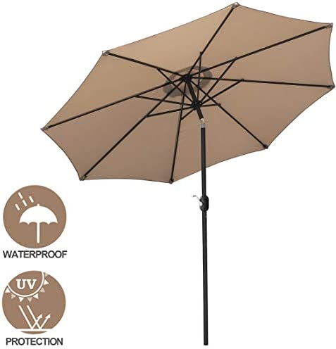 SUPER DEAL 9.1FT Patio Umbrella with 8 Sturdy Ribs – Outdoor Table Umbrella with Push Button Tilt Crank Lift System – Perfect for Patio, Garden, Yard, Deck, Poolside