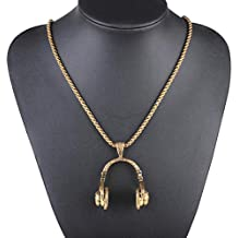 Gbell Girls Boys Punk Earphone Necklace Jewelry Charms - Unisex Hip Hop Microphone Earphone Chain Pendant Gifts for Kids Women Lady Men