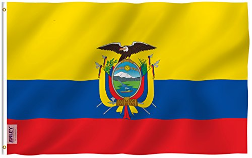 Anley Fly Breeze 3x5 Foot Ecuador Flag - Vivid Color and UV Fade Resistant - Canvas Header and Double Stitched - Ecuadoran National Flags Polyester with Brass Grommets 3 X 5 Ft