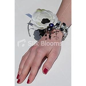 Black & White Anemone & Sparkling Crystal Wedding Wrist Corsage 118
