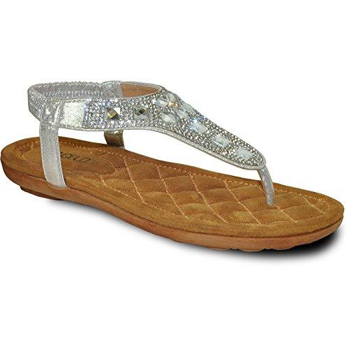 VANGELO Women Sandal AFRICA-12 Fashion Flat Sandal Silver by VANGELO