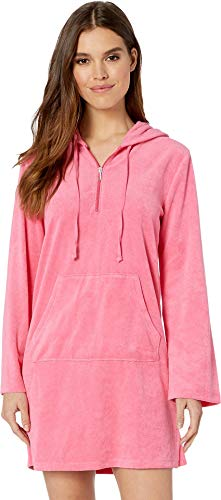Juicy Couture Women's Microterry Hooded Dress Lotus Flower Small ()