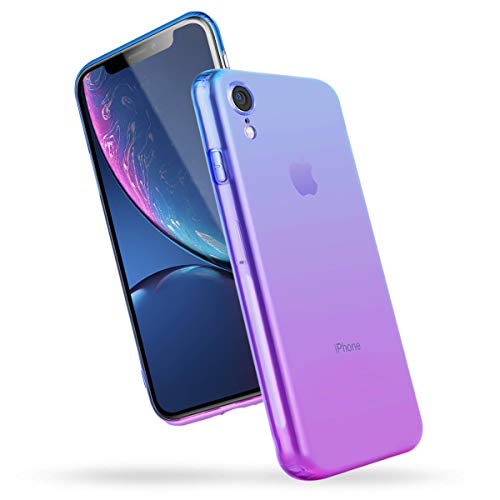 Airror Phone Case Compatible with iPhone XR, Clear Multi-Color Gradients Slim Case, Impact Resistant Protective Flexible Soft TPU Cover [ Support Wireless Charging ] - Blue & Purple 282 (Color Pack Multi Compatible)