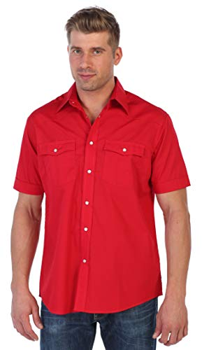(Gioberti Mens Casual Western Solid Short Sleeve Shirt with Pearl Snaps, Red, Medium )