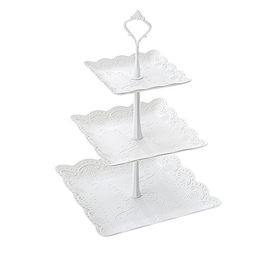 White Pastry - Kingsnow 3-Tiered White Pastry Stand Cake Stand Dessert Stand Cupcake Stand Holder Serving Platter for Party Wedding Home Decor