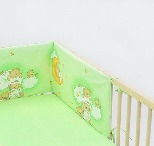 Babybett-Nestchen Bettnestchen Nestchen Babynestchen Bettumrandung ca. 30x180 (Muster: Teddy auf Wolke_hellgrün)