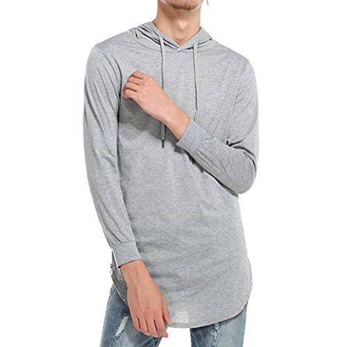 DEATU Men's Simple Casual Ripped Solid Hooded Long Sleeve T-Shirt Top Blouse (XXXL, Gray)