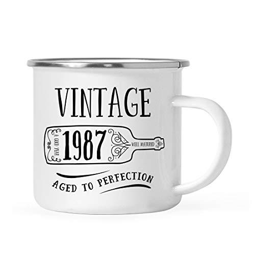 Andaz Press 11oz. Birthday Milestone Stainless Steel Campfire Coffee Mug Gift, Vintage 1987, Wine Bottle Graphic, 1-Pack, Enamel Camping Cup, 32nd, 33rd, 34th Birthday Gift Ideas for Him or Her Mom