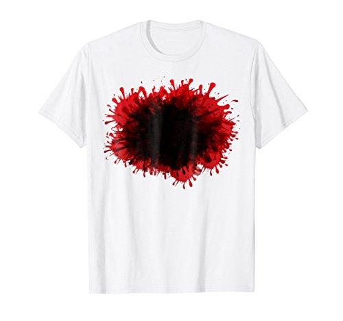 Mens Happy Halloween Blood Splatter Tshirt Costume - Gag DIY Gift Large White -