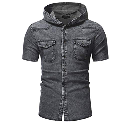 Hoodies for Men, F_Gotal Men's T-Shirts Short Sleeve Buttons Down Denim Jacket Slim Casual Blouse Tops with - Jacket Colorblock Down