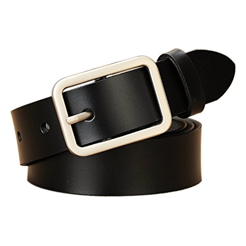 Square Buckle Belt (Vonsely Wide Leather Womens Belts for Jeans, Unisex Square Buckle Belts for Men and Women, 45inch Black)
