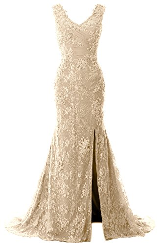 Women V Gown Formal Party Mermaid Champagner Straps MACloth Lace Neck Wedding Dress Evening 4qwCWdT
