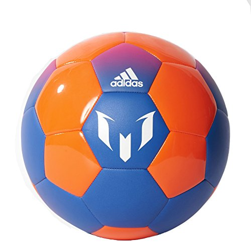 adidas Performance Messi Soccer Ball, Blue/Solar Orange/Shock Pink, Size 5 (Solar Set Performance)