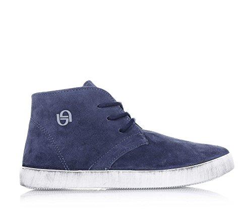BYBLOS - Blauer Schuh mit Schnürsenkel, aus Wildleder, seitlich ein Logo, sichtbare Nähte und Gummisohle, Jungen