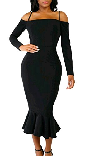 Coolred Sleeve Falbala Long Colored Solid Pattern4 Midi Dress Bodycon Women qpvwpR