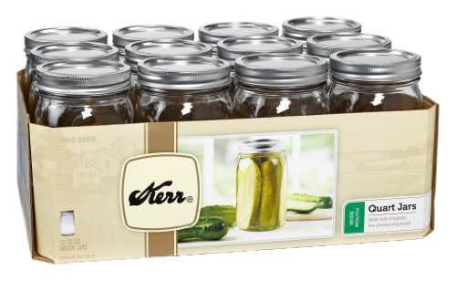 Kerr 519 Wide Mouth Jars with Lids and Bands, 32-Ounce, Set of 12 (Kerr Jar)