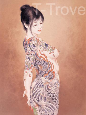 Tattoo Japanese Lady Wall Scroll Q1