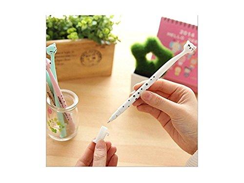 Bolígrafo de gel con diseño de cabeza de gato de dibujos animados japoneses (color blanco)