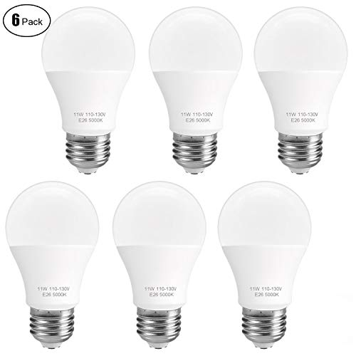 (6-Pack) SUNMEG A19 LED Light Bulb, 100 Watt Equivalent (11W), E26 LED Bulbs, 1050 Lumens, Daylight (5000K), 120VAC