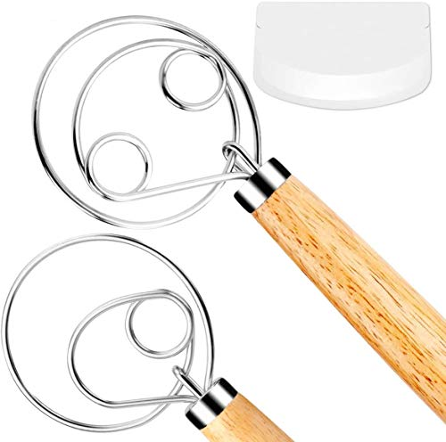 FUANRTK Danish Dough Whisk Bread Mixer,2 Pack Premium Stainless Steel Dutch Whisk With a Dough Scraper for Bread, Pastry…