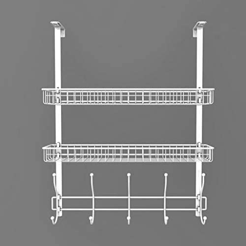 パンチフリー壁掛けコートラック、二層小物収納ボックス、シンプルスタイル、ベッドルーム、バスルーム、キッチンドア収納、5フック White