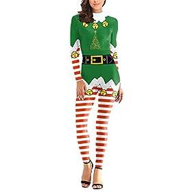 Fixmatti Women Red And Green Stripes Fun Printed Leggings Set Cute Jumpsuit S